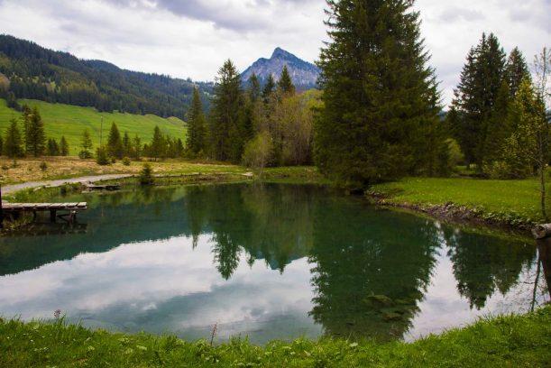 Der Fischteich im Tannheimer Tal - liegt auf der Radrunde Allgäu