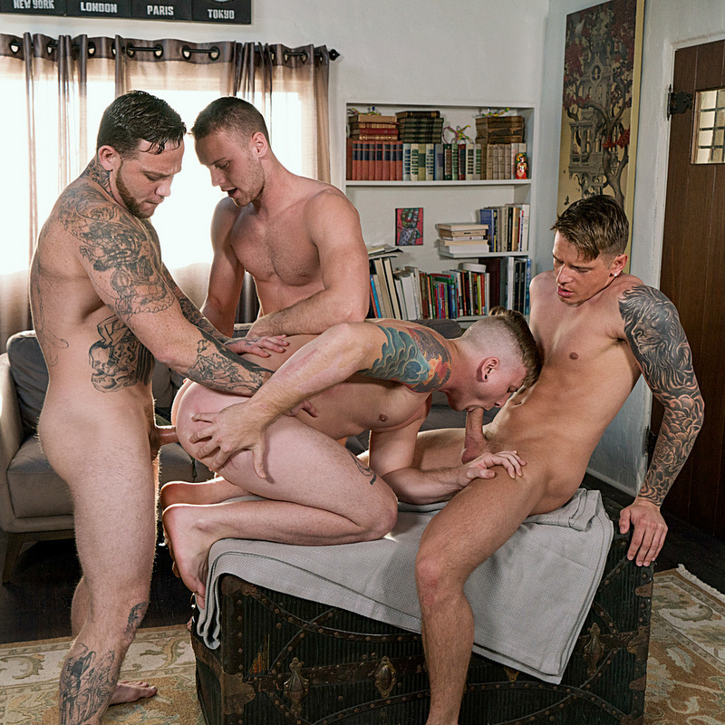 four hot guys fuck raw