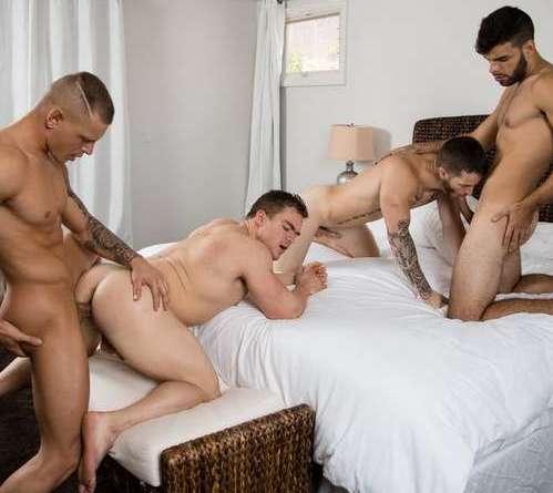 sexy guys having bareback foursome