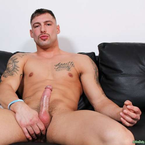 tattooed hunk calvin jerks off