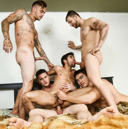 four hot studs fuck perfect twink bottom