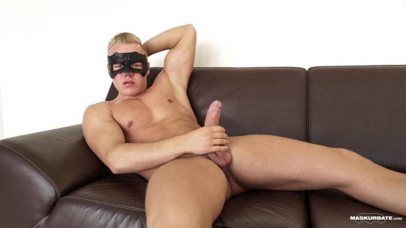Blond Hunk Jerks his Uncut Cock 01