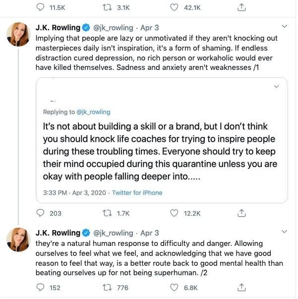 jk rowlings tweet to life coaches