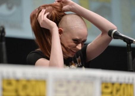 Karen Gillan with shaved head