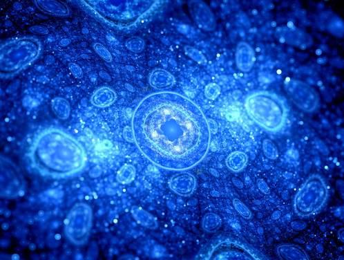 Blue Glowing Cells Fractal