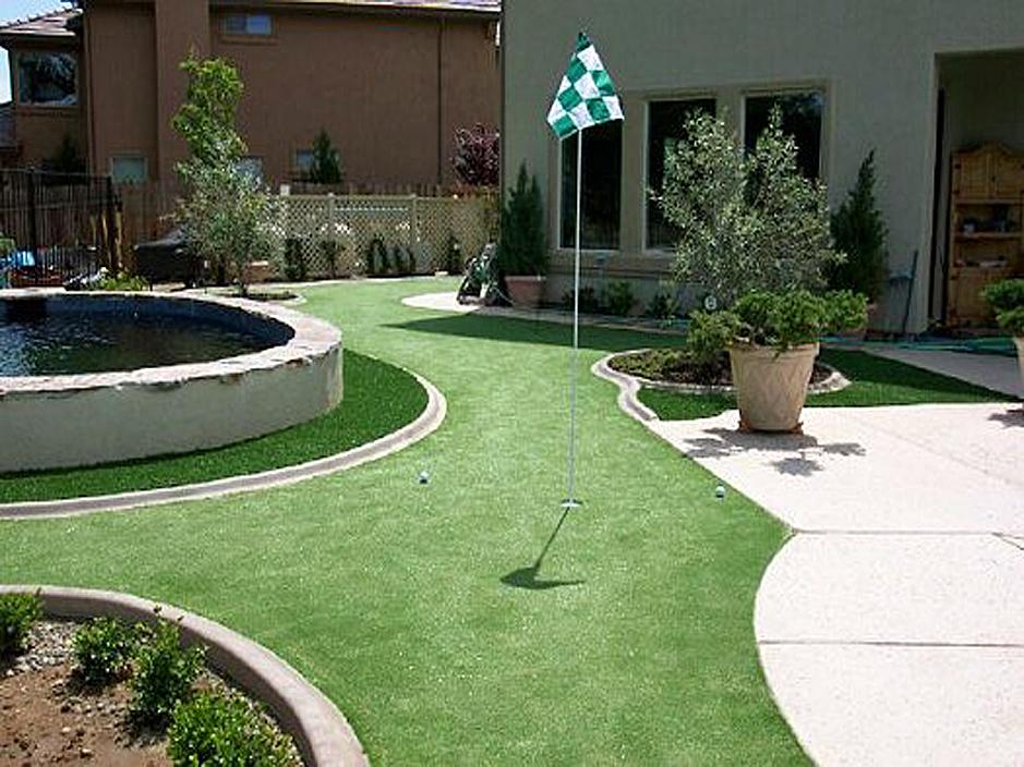Artificial Grass Carpet Hesperia, California Backyard Deck
