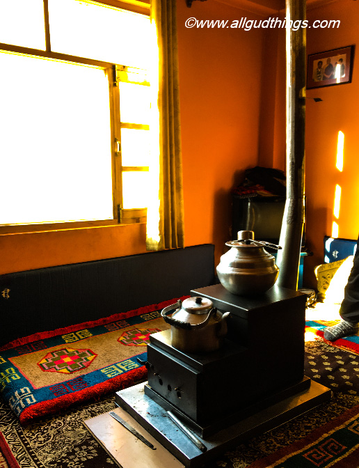 Cozy Kitchen in Baba's Homestay at Tabo: Spiti Valley in winters