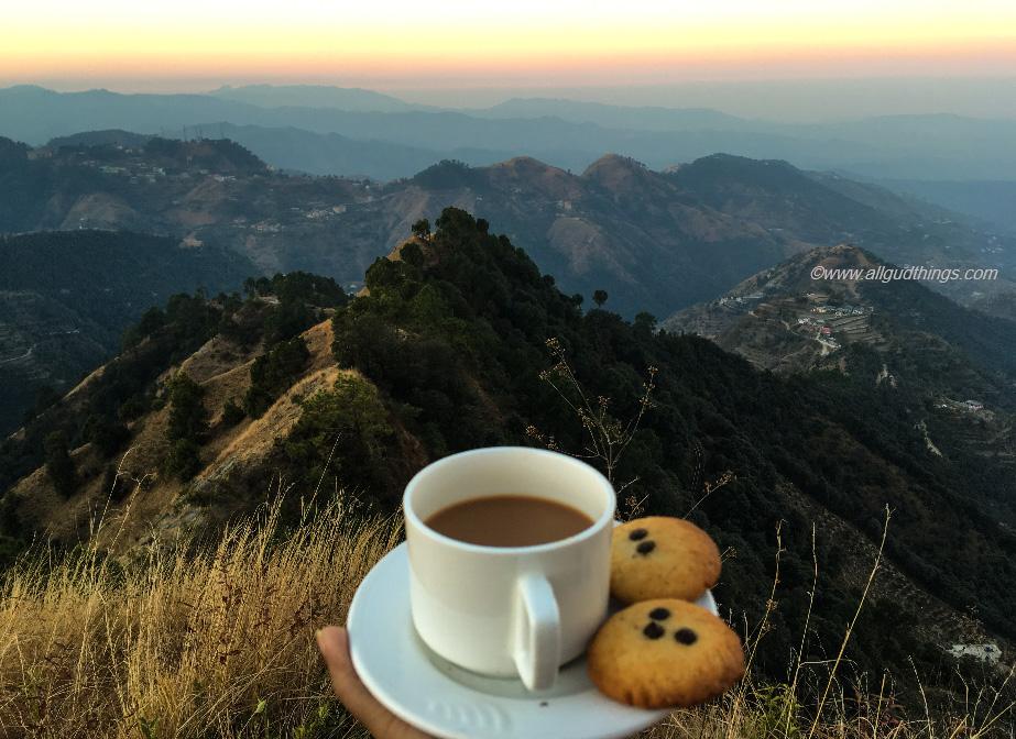 Morning tea with sunrise at ridge: Aamod Resort Shoghi