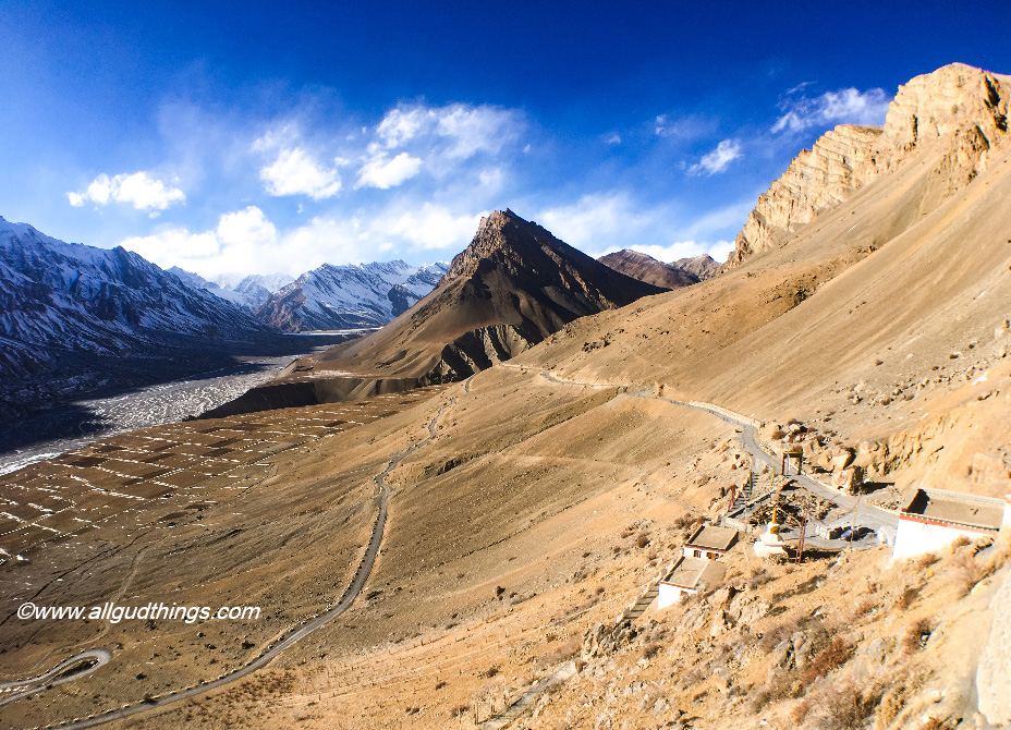 Narrow Steep Roads around Kaza: Spiti Valley in Winters