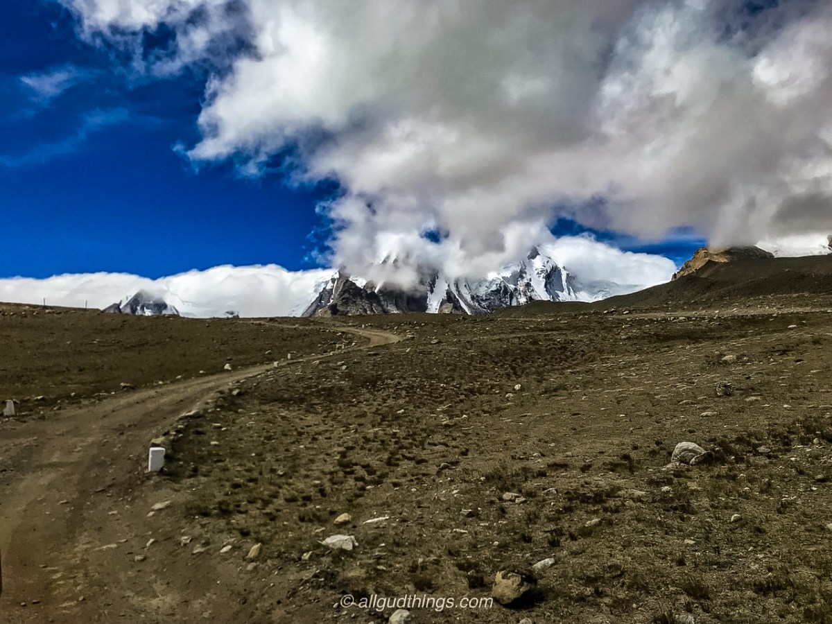 Ascending on Hillock to reach Gurudongmar Lake
