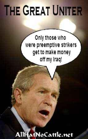 Bush and reconstruction in Iraq, cartoon