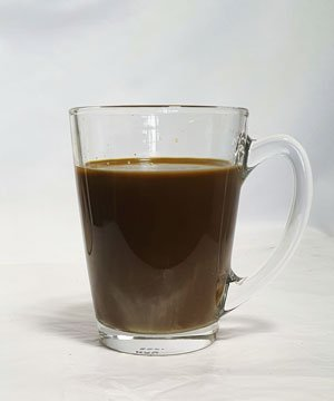 kopi c in glass cup