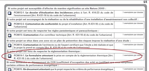 PCMI 14-1 Le formulaire attestant la prise en compte de la réglementation thermique