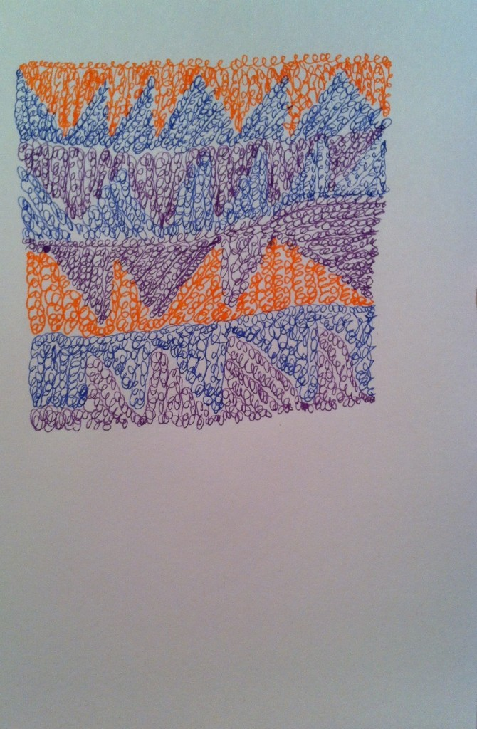 pen and ink drawing in purple, orange and blue squiggles