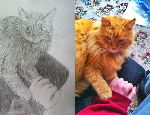 Drawing and Photo of Gracie