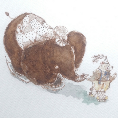 stylised illustration of elephant and bear on skates_allied artists