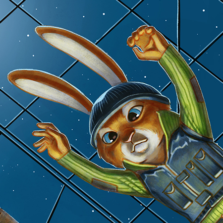 flying rabbit illustration