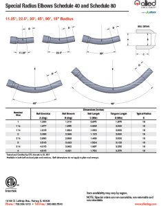 Pvc  special radius elbows schedule and also specification sheets allied tube conduit electrical rh alliedeg