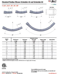Pvc standard radius elbows schedule and also specification sheets allied tube  conduit electrical rh alliedeg