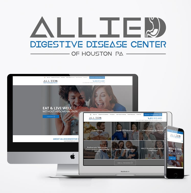 Allied Website launch displayed on desktop, laptop, and mobile device