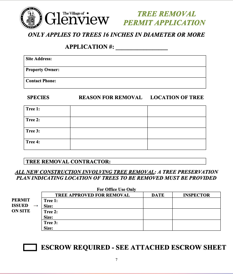 Glenview Tree Removal Permit Application