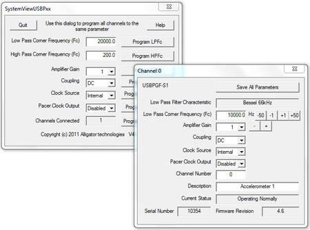 Data Acquisition Filter Software Control GUI and API SDK