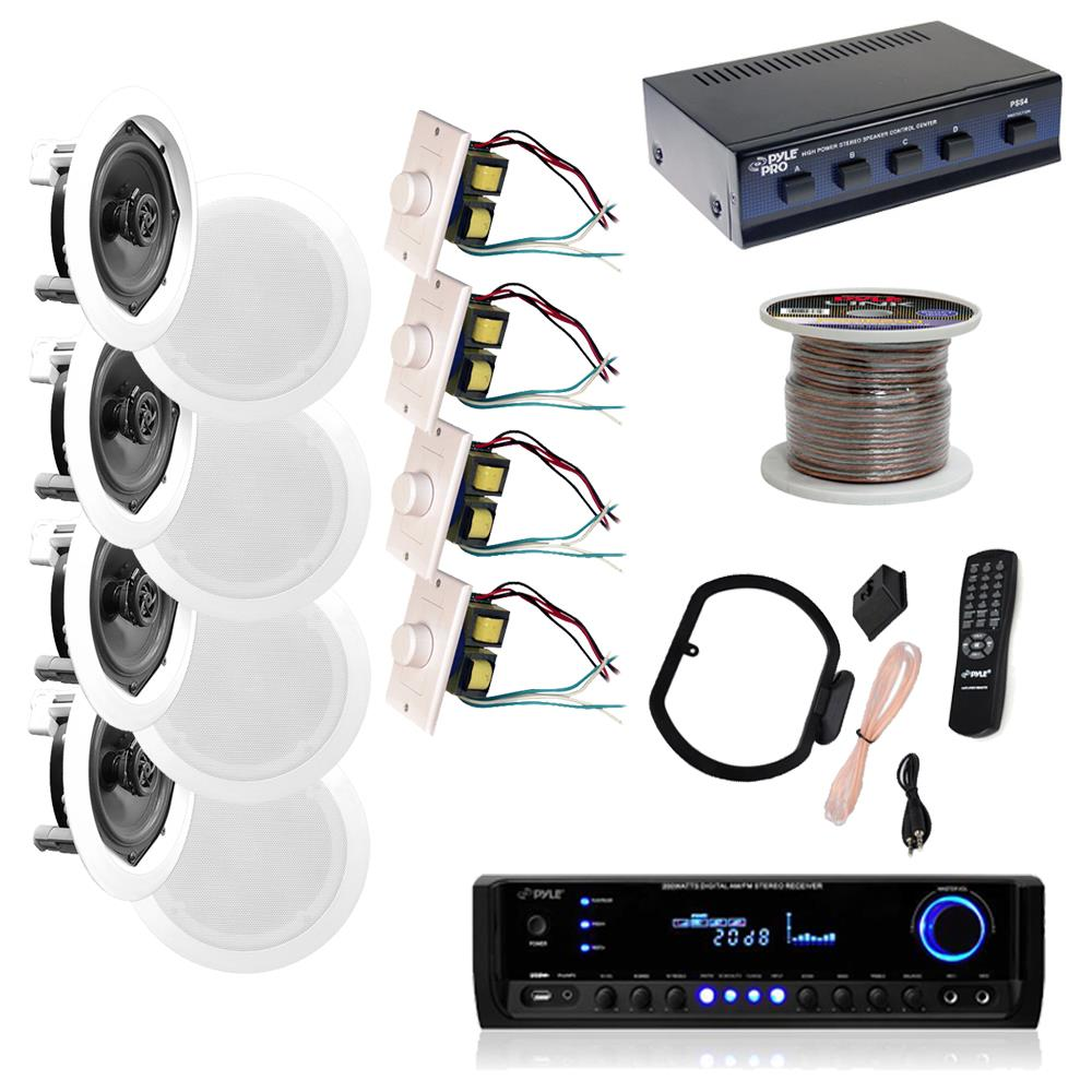 hight resolution of  w 300w digital home stereo receiver w usb sd aux input remote w 4 channel high power stereo speaker selector 4 volume controls 250 ft wire