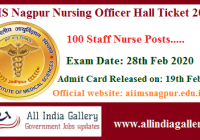 AIIMS Nagpur Nursing Officer Hall Ticket