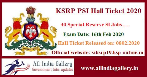 KSRP PSI Hall Ticket