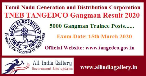 TNEB TANGEDCO Gangman Result 2020