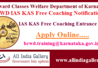 BCWD IAS KAS Free Coaching Exam Notification