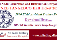 TNEB TANGEDCO Field Assistant Hall Ticket 2020