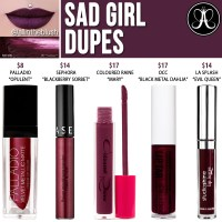 Anastasia Beverly Hills Sad Girl Liquid Lipstick Dupes