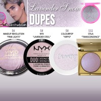 Jeffree Star Cosmetics Lavender Snow Skin Frost Dupes
