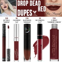 Too Faced Drop Dead Red Melted Matte Liquid Lipstick Dupes