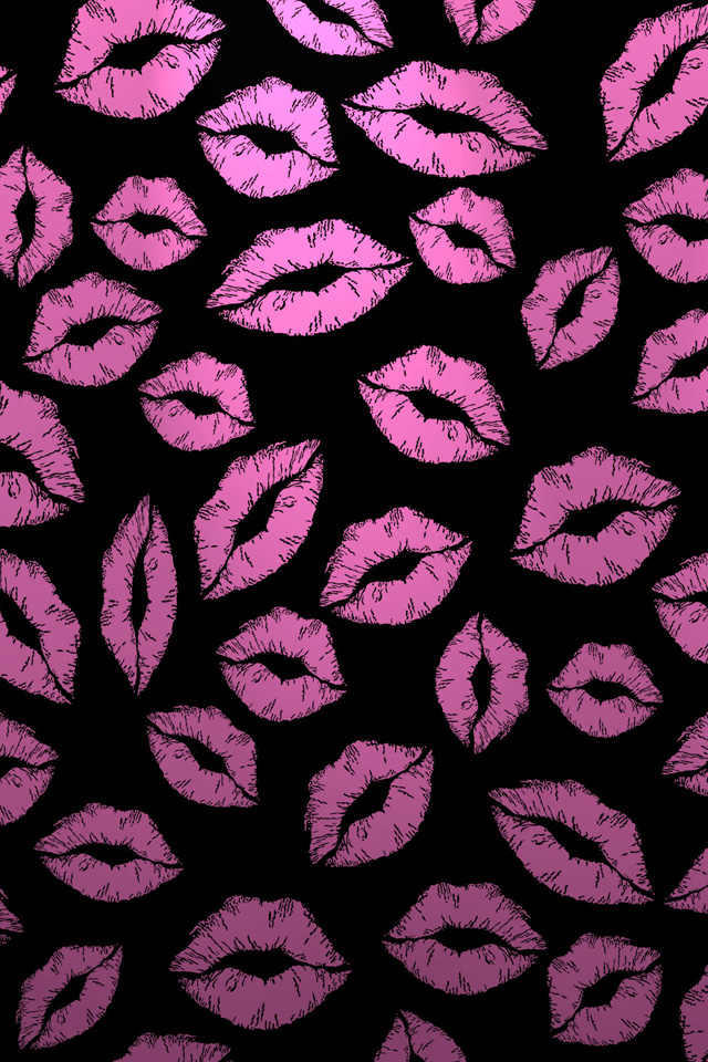 Iphone 5 Wallpaper Cute Kiss Marks Iphone Wallpaper Hd