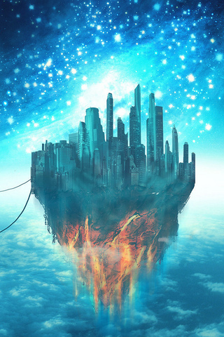 3d Illusion Wallpapers Hd Floating City Ipod Touch Wallpaper Background And Theme