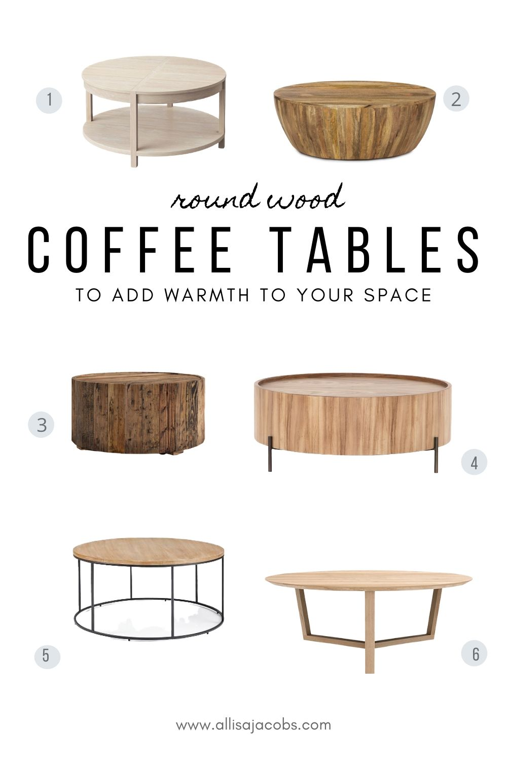 6 amazing round wood coffee tables for