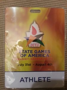 "photo of my ""Athlete"" pass from the State Games"