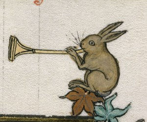 medieval illustration of rabbit blowing a trumpet