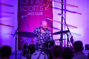Drummer Dave King with The Bad Plus on stage