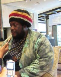 Kamasi Washington being interviewed 2 April 2017