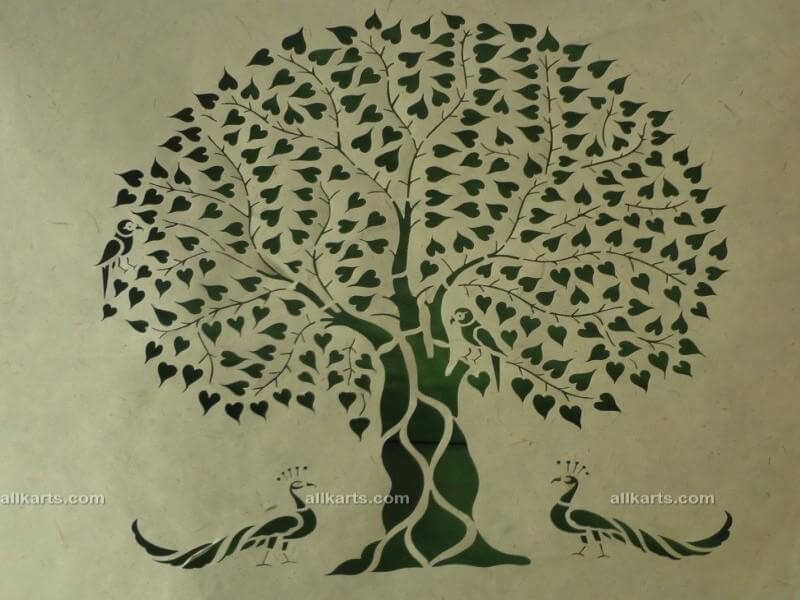 Sanjhi Art Two Peacocks with Tree Painting