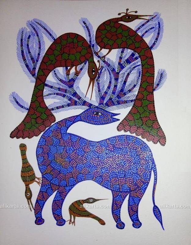 Stag and Peacocks Bhil Art