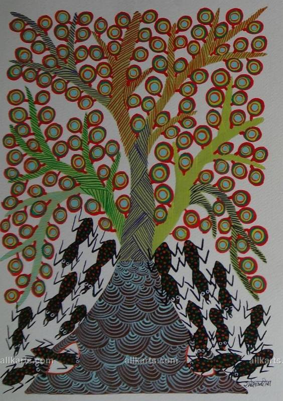 Ants and Tree Bhil Art