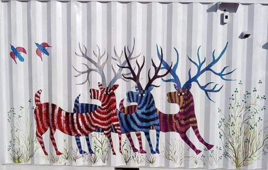 Gond Painting of Three Stags