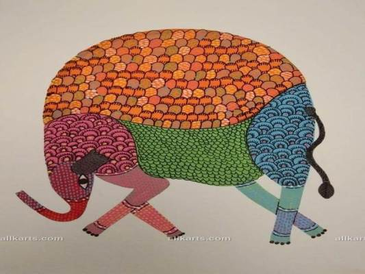 Gond Painting of Elephant