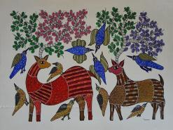 Birds and Deer Gond Painting