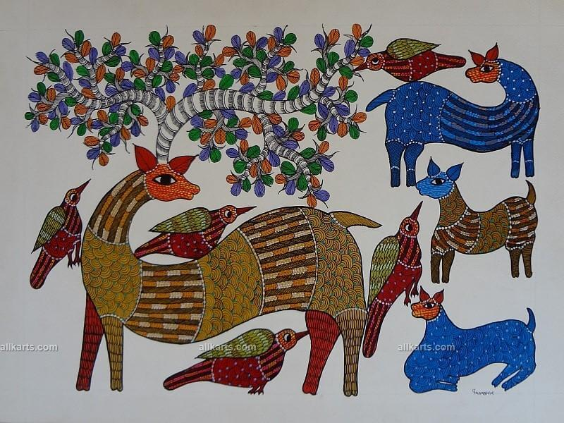 Birds, Deer and Fawns Gond Painting