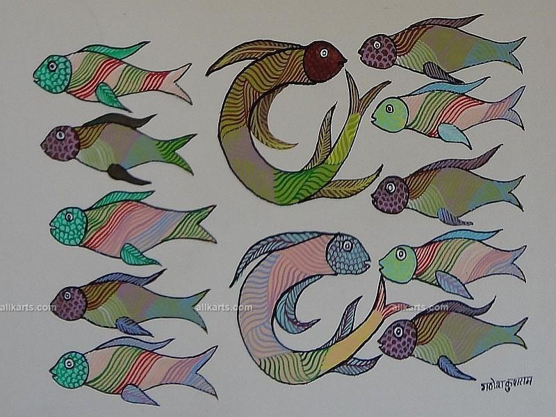 Family of Fish Gond Painting